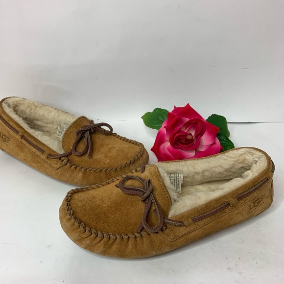 fd276ee1467 Ugg Womens Sz 6 Tan Moccasin Slippers House Shoes